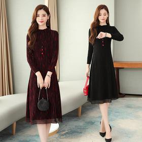 AHM-hmwl9988新款时尚气质过膝长袖圆领连衣裙TZF