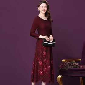 WXY-M1-6567新款优雅气质修身圆领长袖手工刺绣中长款连衣裙TZF