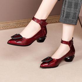 OLD-k210新款时尚真皮尖头一字式中粗跟单鞋TZF