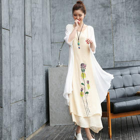 HRFS-HYSD2新款时尚优雅气质棉麻水墨印花连衣裙两件套TZF