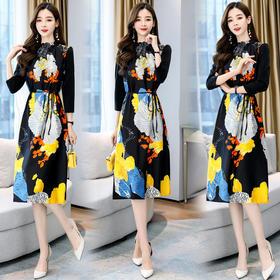 HRFS-HBLJR8219新款时尚优雅气质修身显瘦立领印花连衣裙TZF