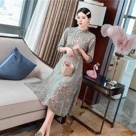 FNZD20193新款中国风优雅气质修身立领七分袖刺绣碎花连衣裙TZF