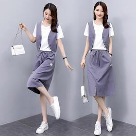 HRFS-WH70689新款时尚气质圆领拼接上衣松紧腰半身裙两件套TZF