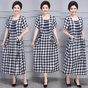 AHM-mmht8081-1新款时尚优雅气质休闲宽松棉麻格纹连衣裙TZF