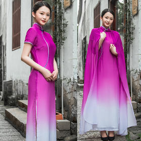 MGS新款中国风优雅气质改良渐变长款旗袍雪纺披肩TZF