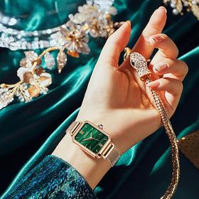 「年度星品 小绿表」SUNKTA森系细带孔雀石幸运小绿表日本进口机芯女士ins风轻奢复古小方盘手表