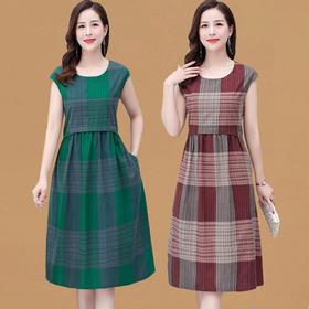 MQ1233-1293新款格子莫代尔棉连衣裙TZF