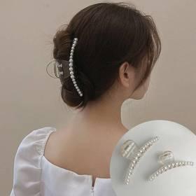 特卖价49 BAZAAR/时尚芭莎 优雅气质珍珠大号抓夹头饰女后脑勺盘发洗澡个性夹子发卡发饰卡子 BFJ078X OU   YW