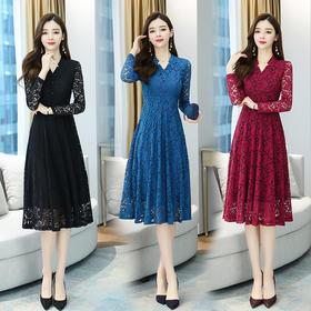 YHSS913350新款时尚气质修身显瘦V领长袖蕾丝连衣裙TZF