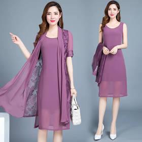 PDD-QM200805新款时尚优雅气质中长款雪纺连衣裙两件套TZF