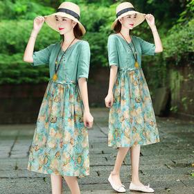 XFFS7242新款时尚气质V领短袖拼接棉麻碎花连衣裙TZF