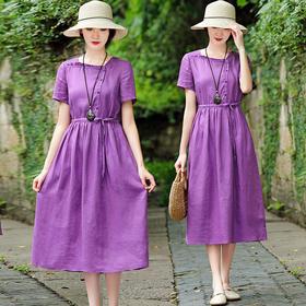 XFSS9750新款时尚优雅气质收腰显瘦香芋紫棉麻连衣裙TZF