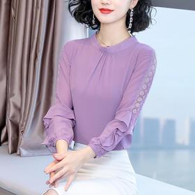 YHSS56140新款时尚气质蝴蝶结系带荷叶袖长袖雪纺衫TZF