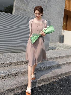 HRFS-WS18199新款时尚甜美修身显瘦吊带裙+外披两件套TZF