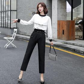 HRFS-WY89129新款时尚优雅气质圆领拼色上衣直筒裤两件套TZF