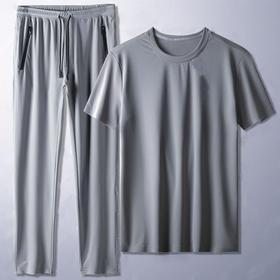 PDD-CSYZ200805新款时尚气质休闲冰丝薄款透气短袖直筒裤两件套TZF