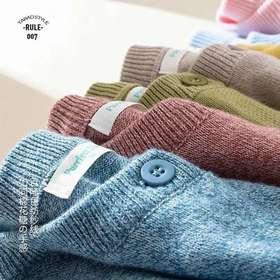 百分百棉纱亲子款开衫~2020新款儿童纯色针织开衫秋季女童毛衣男童成人外套薄