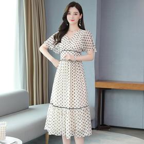 AHM-ff6032新款时尚优雅气质收腰显瘦V领荷叶边雪纺印花连衣裙TZF