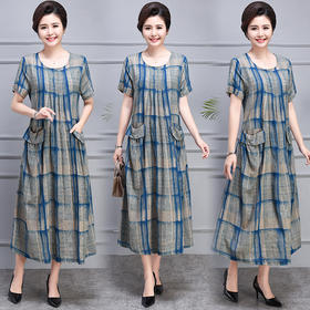 AHM-mmht8081-7新款时尚优雅气质宽松休闲棉麻格纹连衣裙TZF