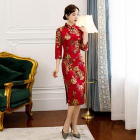 ZA2020新款烫金大码复古连衣裙旗袍TZF