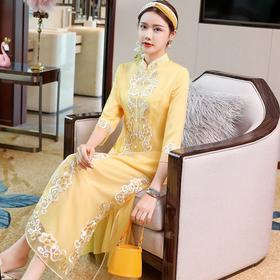 PDD-XXYS200806新款中国风优雅气质修身立领刺绣连衣裙TZF