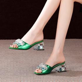 OLD105-108新款潮流时尚气质百搭水钻粗跟凉拖鞋TZF