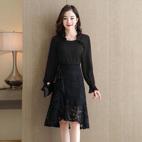 HRFS-WHA80999新款时尚优雅气质压褶上衣荷叶边网纱半身裙两件套TZF