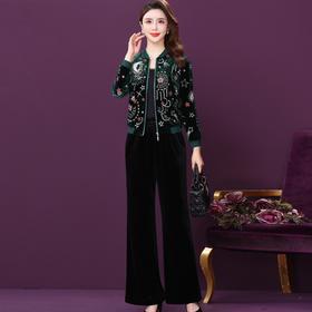 WXY-ANE-6814新款时尚优雅气质短款刺绣外套丝绒百搭裤子两件套TZF