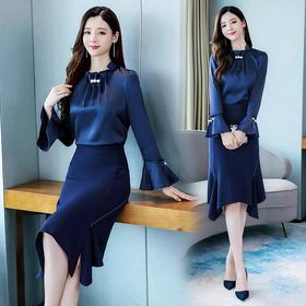 HRFS-WX71679新款时尚优雅气质木耳领长袖上衣不规则半身裙套装TZF