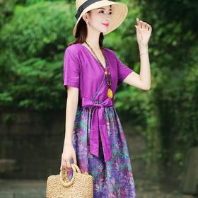 XFFS2480新款时尚优雅气质V领短袖拼接棉麻印花连衣裙TZF