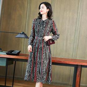KQLFS9917新款时尚优雅气质收腰显瘦立领长袖桑蚕丝印花过膝连衣裙TZF