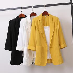 OMD1381新款时尚气质休闲宽松棉麻西装外套TZF
