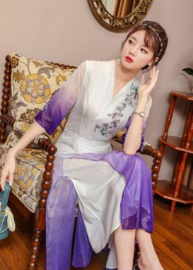 SYFS2097新款中国风优雅气质修身V领中袖渐变印花连衣裙TZF
