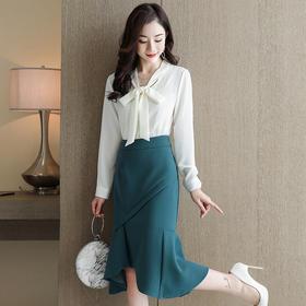 HRFS-WHA608619新款时尚优雅气质衬衫不规则拼接鱼尾裙两件套TZF