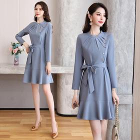 HRFS-WY80489新款时尚优雅气质修身显瘦圆领长袖荷叶边连衣裙TZF