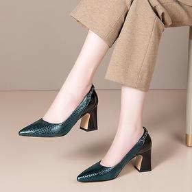 OLD995新款时尚气质真皮尖头百搭高跟鞋TZF