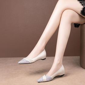 OLD65新款时尚真皮尖头亮片浅口百搭一脚蹬单鞋TZF