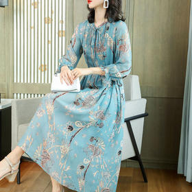 KQLFS9918新款时尚优雅气质收腰显瘦桑蚕丝印花中长款连衣裙TZF