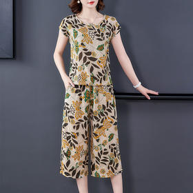 PDD-YBS200806新款时尚气质休闲宽松短袖薄款棉绸两件套TZF