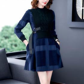 AHM-ybb6500新款时尚优雅气质收腰显瘦圆领长袖假两件连衣裙TZF