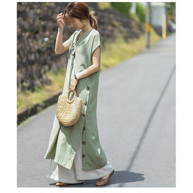 YYDSM-ah0117新款潮流时尚气质宽松V领侧边扣连衣裙TZF