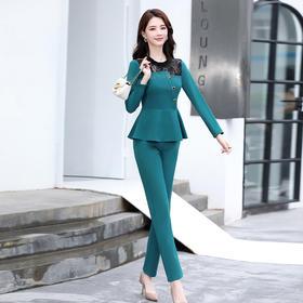 HRFS-WW3689新款时尚优雅气质修身显瘦蕾丝拼接领口上衣裤子两件套TZF