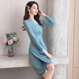HRFS-WY60459新款潮流时尚优雅气质修身显瘦V领长袖连衣裙TZF