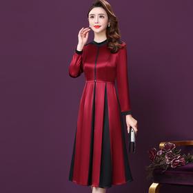 WXY-JR-3201新款时尚优雅气质收腰圆领长袖拼接连衣裙TZF