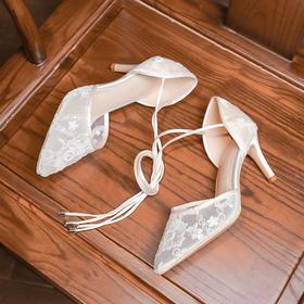 XYSM-D521D新款时尚气质尖头蕾丝绣花珍珠细高跟凉鞋TZF