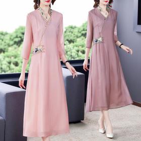 XFFS6801新款中国风优雅气质修身V领刺绣连衣裙TZF