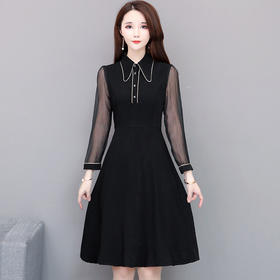 QYM-HL-HY0312新款时尚优雅气质衬衫领长袖拼接连衣裙TZF