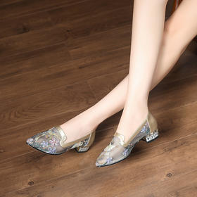XYSM-H18-30新款时尚气质尖头浅口镂空网纱低跟绣花鞋TZF