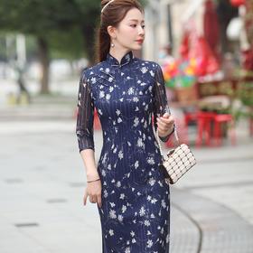 【蓝恋】优雅修身,改良蕾丝时尚碎花印花旗袍XGT-Q2330