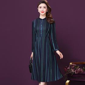 WXY-JR-3277新款时尚优雅气质修身显瘦条纹单排扣连衣裙TZF